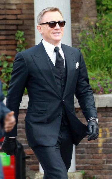 Tom Ford Black Herringbone 3 Piece Suit What Bond Wears